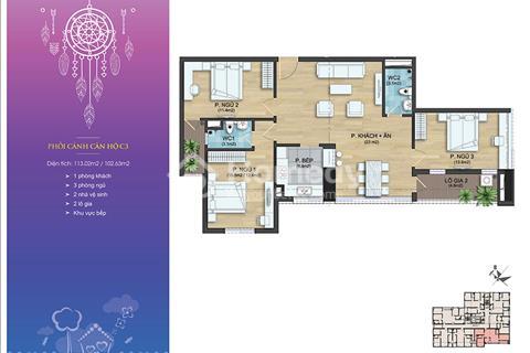 Cần bán căn hộ C3/1403- 102m2, 3 phòng ngủ đầy đủ tiện nghi giá chỉ 1 tỷ