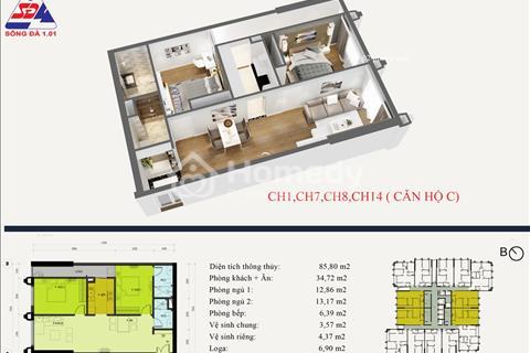 Eco Green Tower số 1 Giáp Nhị-chỉ từ 1,690 tỷ bạn sở hữu căn hộ 2pn 81m2,CK 30tr/ Ls 0%/12 tháng...