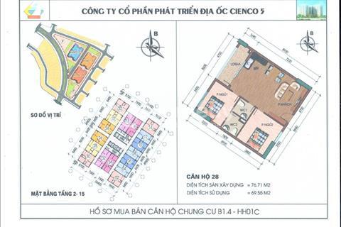 Bán gấp căn hộ chung cư Thanh Hà giá rẻ, tầng 8 căn 28 tòa HH01C giá gốc 10 triệu
