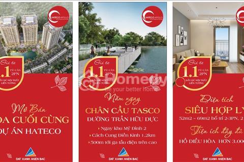 Mở bán tòa đẹp nhất CT2 Hateco Xuân Phương ,diện tích rộng hơn, view hồ+đường 70, giá chỉ từ 1.1 tỷ