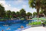 Phôi cảnh bể bơi với làn nước trong xanh hòa cùng màu xanh mát của mảng xanh công viên mang đến những tiện ích hàng đầu cho cư dân dự án.