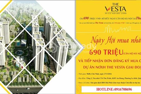 Bán gấp căn hộ chung cư nhà ở xã hội The Vesta Hà Đông chỉ với 240 triệu/căn, lãi suất 5%/5năm