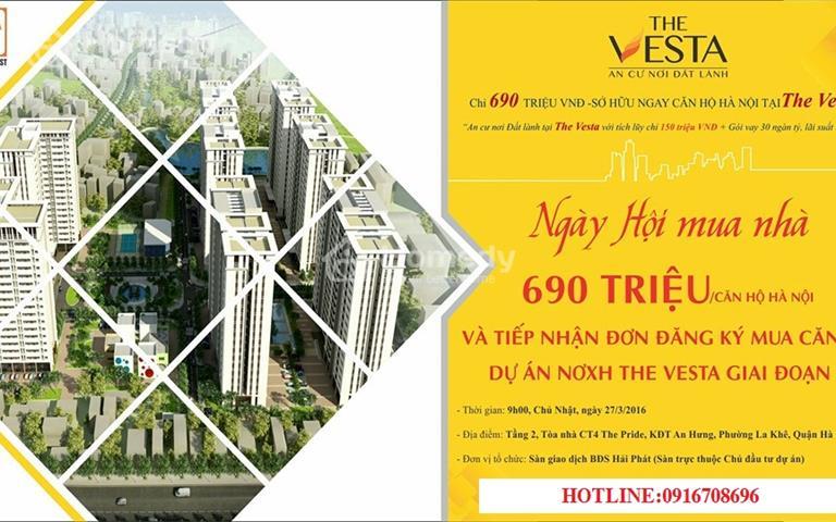 Bán gấp căn hộ chung cư nhà ở xã hội The Vesta Hà Đông chỉ với 750 triệu/căn, lãi suất 5%/5năm