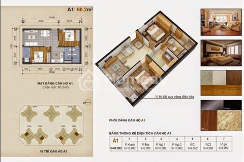 Căn 60,2m2 nội thất cơ bản, ban công Đông Nam