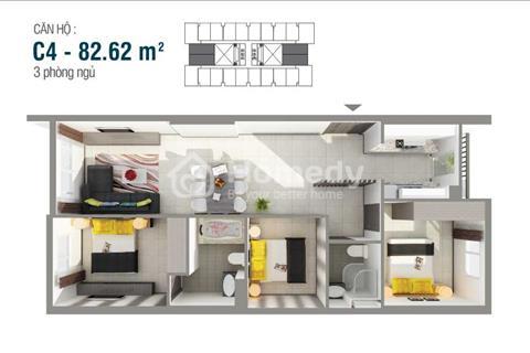 Mình cho thuê chung cư 8X Rainbow 83m2, 3 phòng ngủ, 2 nhà vệ sinh, nhà mới 100%, 7,5 triệu/tháng