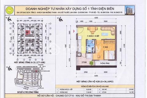 Bán gấp căn hộ 36m2 CT10A Đại Thanh, giá chỉ 480 triệu