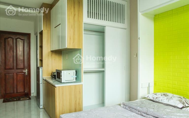 Cho thuê căn Studio full nội thất thiết kế đẹp, ban công view đẹp, 100% new, free toàn bộ dịch vụ