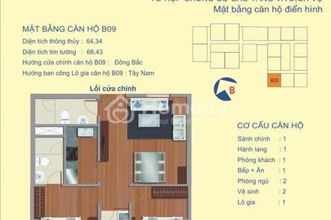 Bán gấp căn góc 64,34m2 có 2 phòng ngủ thiết kế thoáng đẹp tại 122 Vĩnh Tuy