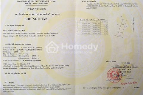 Chính chủ bán đất vườn An Phú Tây, Bình Chánh, 5,5 triệu/m2