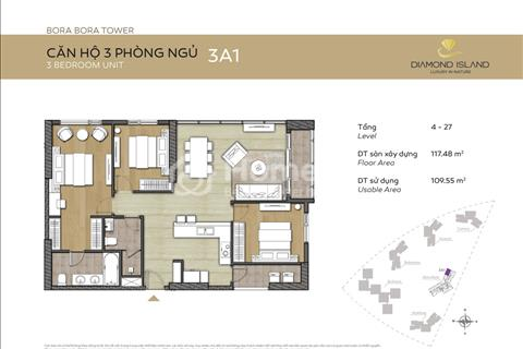 Bán gấp căn góc 3 phòng ngủ Đảo Kim Cương, tháp Bora Bora, giá tốt 5,5 tỷ