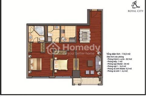 Bán căn hộ đẹp nhất tòa R1 chung cư Royal City 2 phòng ngủ đầy đủ nội thất
