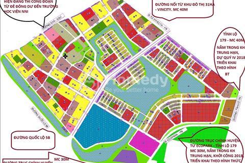 Bán 323m2 đất thị trấn Trâu Quỳ, nằm trong Vincity Gia Lâm, sẽ ra đường lớn theo quy hoạch