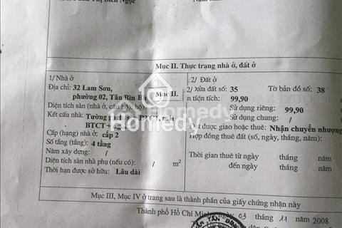 Bán nhà mặt tiền 32 đường Lam Sơn, phường 2, Quận Tân Bình (khu sân bay) ngang 7m dài 15m, 3 lầu