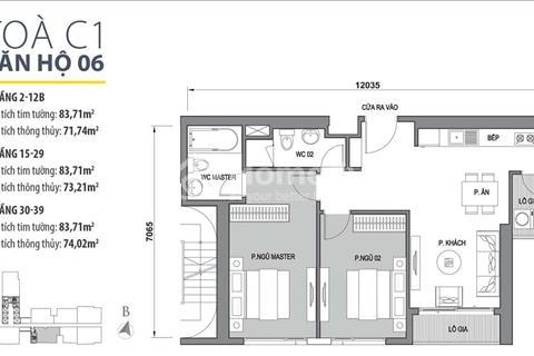 Bán căn hộ đẹp nhất tòa C1 Vinhomes D'Capitale view hồ trực diện, ban công, thoáng nhất dự án