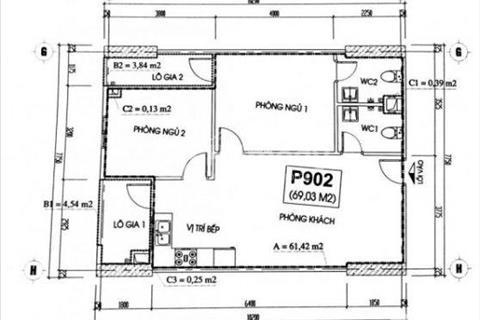 Chính chủ bán căn hộ 2502, 2503 chung cư CT2A Thạch Bàn, giá gốc 12,2 triệu/m2