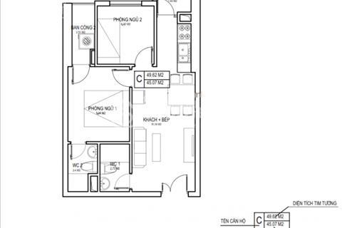 Chung cư ngay trung tâm khu vực Mỹ Đình, diện tích 50m2, 2 phòng ngủ, 2 wc, giá 1 tỷ