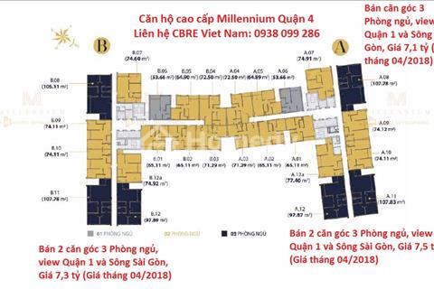 Căn hộ cao cấp Millennium quận 4, căn góc, view Quận 1 và sông Sài Gòn giá bán 7,1 tỷ