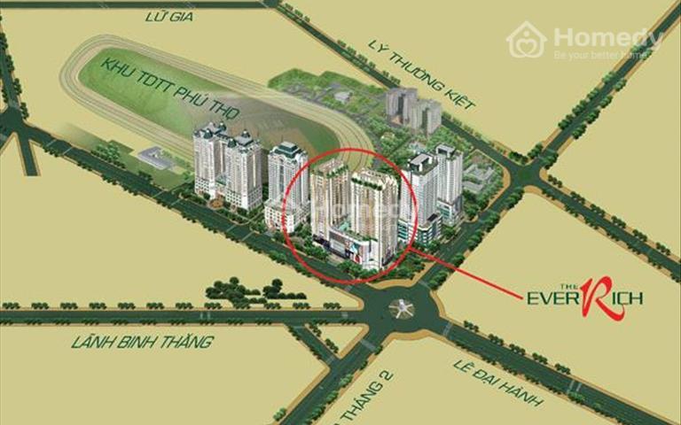 Cho thuê gấp căn hộ cao cấp tại EverRich 1, 22 triệu/tháng, 116m2 full nội thất, view cực đẹp