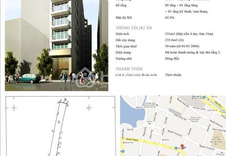 Chuyển nhượng dự án văn phòng, khách sạn, giấy phép 10 tầng, tại 47 Quán Thánh