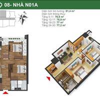 Tôi cần bán gấp căn 1508, N01A, 77m2, giá gốc 21,4 triệu/m2, chênh rẻ nhất dự án