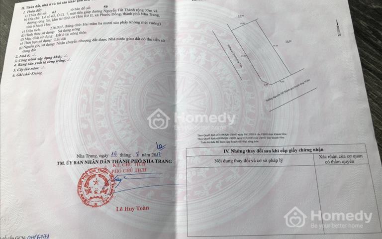 Bán đất 2 mặt tiền Nguyễn Tất Thành - Hòn Rớ 2 - Nha Trang