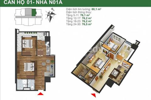 Cắt lỗ căn hộ 1508 tòa NO1 chung cư K35 Tân Mai, diện tích 76m2 chênh 190 triệu