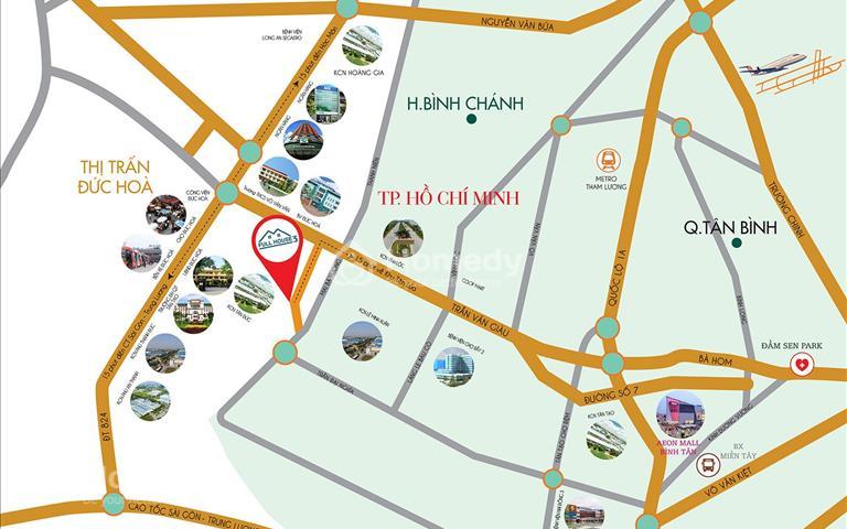 Đất gần Bình Chánh mặt tiền Tỉnh lộ 10 trung tâm thị xã Đức Hòa Long An gần khu Tên Lửa