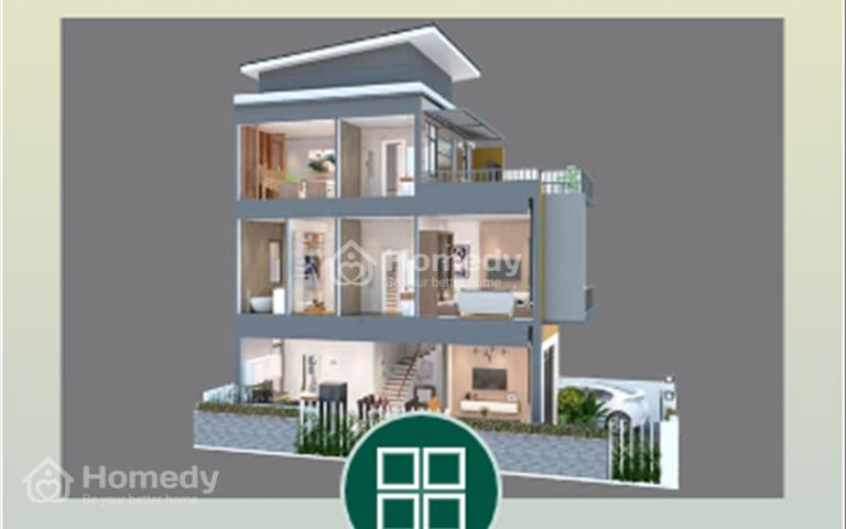 Bến Lức, bán nhà mặt tiền đường nhựa 18m, 1 trệt 2 lầu, 4 phòng ngủ, trả trước 30%