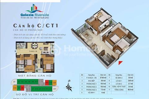 Bán căn góc C20 tòa CT1 Gelexia Tam Trinh 89,2 m2, 3 phòng ngủ, hướng view đẹp