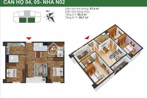 Tôi bán gấp căn 90,3m2, 3 phòng ngủ, 2 WC, tòa N02, K35 Tân Mai, giá siêu rẻ 24,1 triệu/m2
