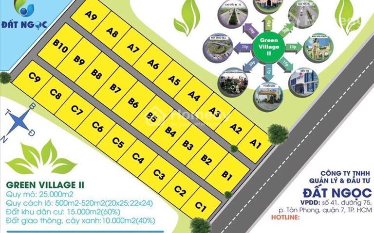 Đất nền biệt thự ven sông Green Village 2 diện tích 500m2, từ 750 triệu/nền, tặng vàng ngày mở bán