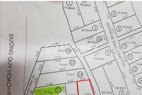 Bán lô đất số 20 khu Phú Gia 2, diện tích 74,89m2, giá 14,5 triệu/m2