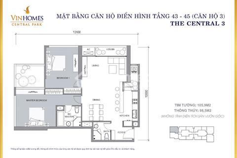 Bán căn hộ góc đặc biệt 2 phòng ngủ - tầng cao và sân vườn, vị trí tòa Central 3, tầng 43