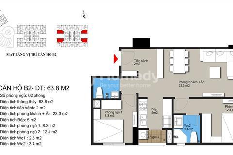 Sang nhượng nguyên giá căn hộ 68m2 gần Mỹ Đình 2PN 2wc giá 1,65 tỷ bao phí sang tên và phí bảo trì