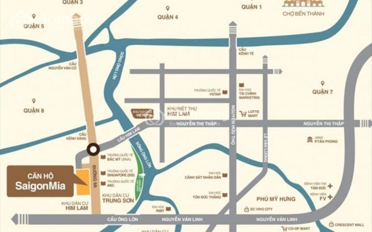 Chính chủ bán căn hộ 2 phòng ngủ dự án Saigon Mia gần đại học RMIT, chuẩn bị nhận nhà, giá 3.1 tỷ