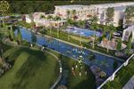 Khu vườn với hồ nhân tạo và đường đi dạo dành cho cư dân cũng như hồ bơi và nhiều tiện ích khác.