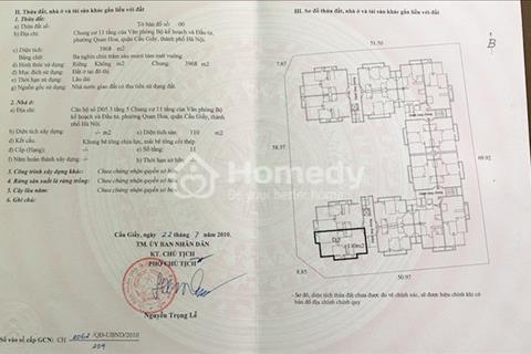 Chính chủ bán gấp căn góc 3PN, chung cư Bộ Kế hoạch Đầu tư Quan Hoa, sổ đỏ chính chủ, giá 25.5tr/m2