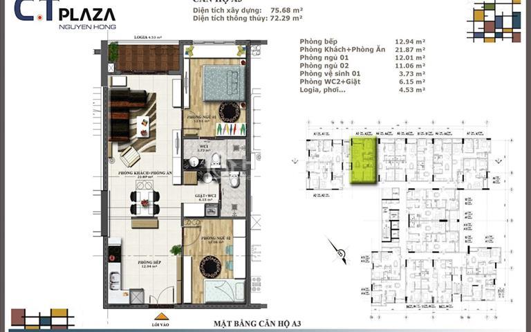 Cần bán căn hộ Nguyên Hồng, cơ hội đầu tư cho những khách gần sân bay, 2 phòng ngủ, 2 WC giá tốt