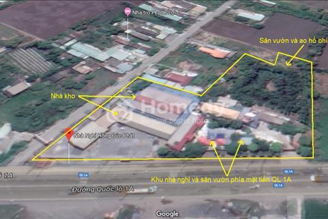Khu đất 8500m2 tổng hợp - 2 mặt tiền QL1A - Nhà nghỉ, kho hàng, sân vườn, ao vườn - Giáp Bình Chánh