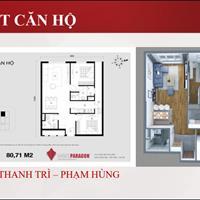 Bán căn hộ 2 phòng ngủ diện tích 80m2 dự án Hà Nội Paragon