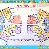 Tôi bán gấp chung cư CT1 Yên Nghĩa, căn 1509 tòa B, DT 61.94m2, giá 12tr/m2