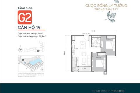 Chính chủ bán căn G2.919, diện tích 64m2, Chung cư Vinhomes Green Bay Mễ Trì, miễn trung gian