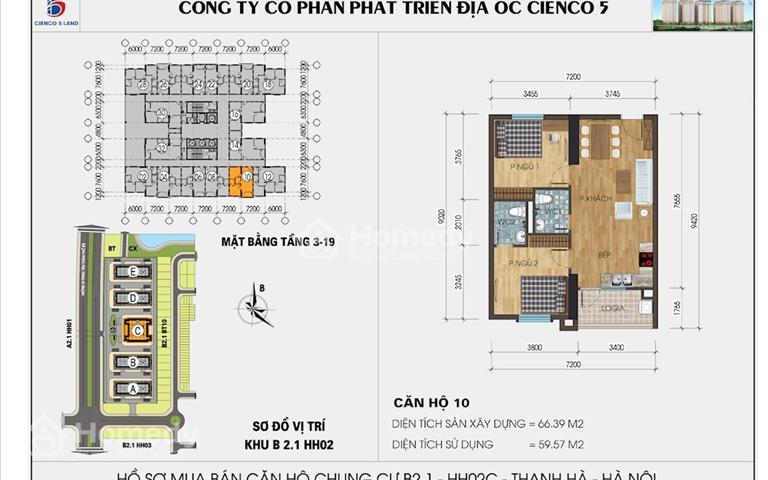 Cắt lỗ căn 2 ngủ 61m2 chung cư Mường Thanh Thanh Hà