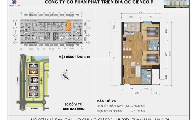 Cần tiền bán gấp căn 65m 2 phòng ngủ chung cư Mường Thanh Thanh Hà
