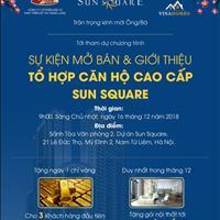 Chung cư cao cấp Sun Square, 28 triệu/m2, tặng gói full nội thất cao cấp trị giá 250 triệu