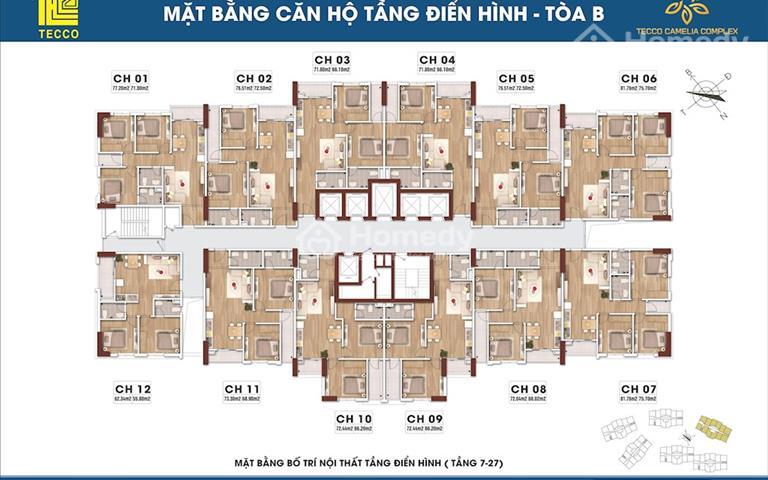Chung cư Tecco Camelia Complex từ 2 phòng ngủ đến 3 phòng ngủ, giá chủ đầu tư