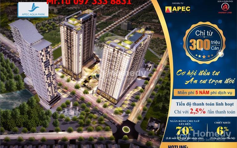Căn 2 phòng ngủ Aqua Park Bắc Giang, vay 70% lãi suất 0%, chiết khấu 5%, giảm 3 triệu/m2