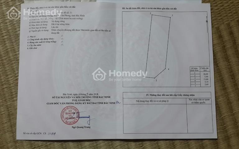 Cần bán đất giãn dân xã Đông Phong - huyện Yên Phong - tỉnh Bắc Ninh