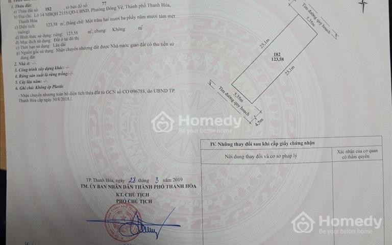 Bán lô LK 14 MB 2155 phường Đông Vệ - Thành phố Thanh Hóa