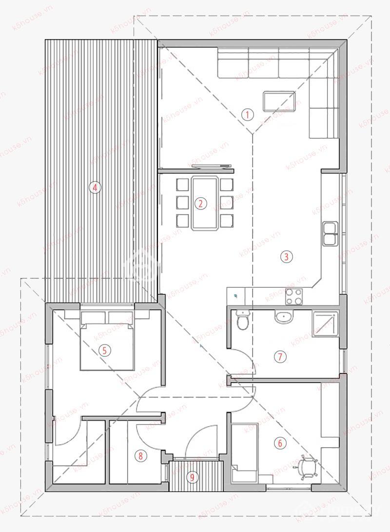 bản vẽ thiết kế nhà cấp 4 có gác lửng